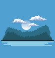 night background landscape of mountains and lake vector image