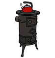 Old small stove with a teapot vector image