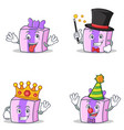 set of gift character with crazy magician king vector image
