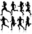Set of silhouettes Runners on sprint women vector image