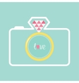 Blue photo camera with gold wedding ring lens vector image vector image
