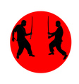 silhouette japanese ninja vector image vector image