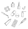 Pills drugs and medical icons sketches vector image