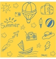 Yellow backgrounds summer doodle vector image