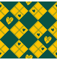 Diamond Chessboard Yellow Green Heart Valentine vector image