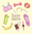 female healthy lifestyle hand drawn fitness vector image
