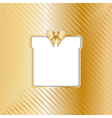 Gold Christmas backgound with cut out gift vector image