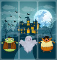 Halloween and background set 3 vector image