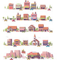 Low poly 2d small town scenes vector image