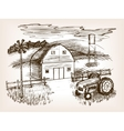 Farm landscape sketch vector image