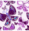 Seamless vivid pattern with violet butterflies vector image