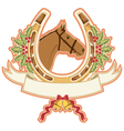 horse and horseshoe christmas isolated on white vector image vector image