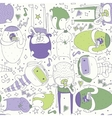 Cute seamless pattern with lovely doodle monsters vector image