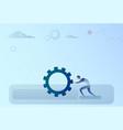 business man pushing cogwheel brainstorming vector image
