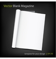 blank page of magazine on black background vector image vector image