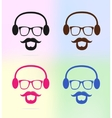 colorful man icons with beard and heardphone vector image
