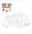 Coloring page with big truck vector image