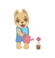 Cute Puppy Watering Flowers vector image