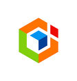 Abstract geometry cube logo vector image