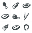 black meat and sausage icon set on white vector image