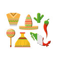 colorful set of mexico icons vector image