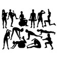 Elegant women silhouettes doing fitness exercise vector image