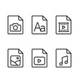 line multimedia various type document icons vector image