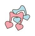 two musical note blue and pink with heart vector image