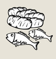 2 Fish and 5 Bread vector image