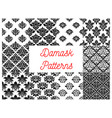 damask floral ornate patterns set vector image vector image