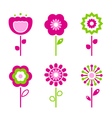 retro flower elements vector image