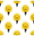 Bright cartoon light bulbs seamless pattern vector image