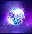 disco ball on ultraviolet outer space background vector image