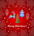 Red Christmas background and Decoration vector image