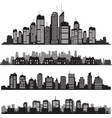 Set of cities silhouette and buildings vector image
