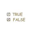 True and False computer symbol vector image