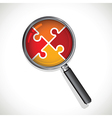 magnifying glass on a red jigsaw vector image