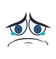 face sad eyes expression cartoon icon vector image