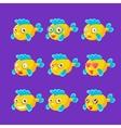 Cute Yellow Aquarium Fish Cartoon Character Set Of vector image vector image