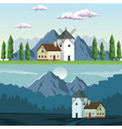 two graphic frames landscape in daytime and night vector image