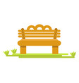 wooden bench on green piece of grass isolated vector image