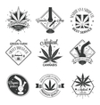 Set of medical marijuana logos Cannabis badges vector image