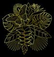 golden tropical bouquet vector image