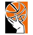 Hand with basketball ball vector image