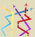 infographic of colorful airplanes vector image