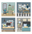 modern interior set in loft style vector image