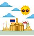 thai building temple flag monument buddha vector image