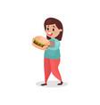 young fat woman eating giant burger harmful habit vector image