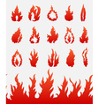 Fire flames icons set vector image