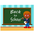 back to school cute schoolchild at the blackboard vector image